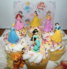 Disney Princess Cake Toppers Set of 7 with Jasmine, Belle, Arial, Rajah and More