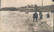 Postcard Size Photo of Khabarovsk Russia 1918  Russian Men Crossing The Ice