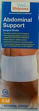 Walgreens Abdominal Support Surgical Binder Latex Free Materials S/M Compression