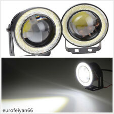 2 Pcs White COB LED Angel Eye Halo Rings Car SUV Fog Light Driving Working Lamps