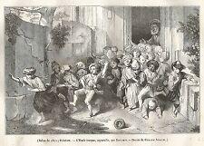 A5252 Decamps - Scuola turca - Xilografia - Stampa Antica del 1842 - Engraving