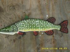 Northern Pike Custom made chainsaw wood carving fish Decoy Wall Mount