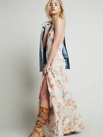 NWT Sz S Free People Anthropologie Star Chasing Floral Low Back Maxi Slip Dress