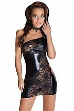 Sexy Black Wet Look PVC Faux Leather Short Dress with Lace Inc Thong Size 8-10