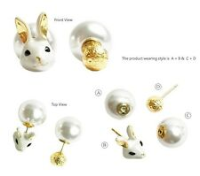 E961 Betsey Johnson Rabbit Head Easter Bunny Pearl 2 side Way Use Earrings US