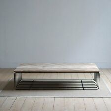 STUNNING HIGH QUALITY OAK TIMBER TOP COFFEE TABLE WITH STEEL FRAME-150x75x35HCM