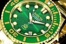 Invicta Pro Grand Diver Emerald Green 3D Automatic Gold Tone Bracelet Watch NEW