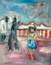 original oil painting of the circus elephant