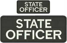 State Officer embroidery patches 4x10 and 2x5 hook white