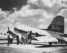 DELTA AIR LINES - DC3 AIRCRAFT ON TARMAC LOADING PHOTO- BLACK & WHITE 8 X 10