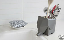 Peleg Design Jumbo Cutlery Drainer Elephant Kitchen Bathroom Dish Holder GRAY