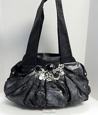 Renato Angi Italy Black Leather Silver Faux Fur Jeweled Shoulder Bag