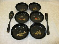 Set of 6 Black Asian Style Bowls with Serving Spoon and Fork - Gold & Red Painti