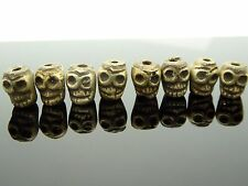 Small Unique Cast Bronze Detailed Tibetan Style Skull Bead 8mm 10 pc.