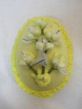 Vintage Yellow Sugar Egg Large 5 x 4 inch w Flower Top Bunnies Inside CUTE!  T23
