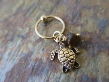 Gold Turtle Tortoise with Tiger Eye Tragus Piercing Captive Ring 16G 1/2""