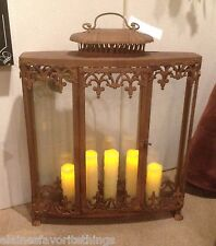 Tuscan/French Country Narrow Candle Lantern with Fleur De Lis Accents
