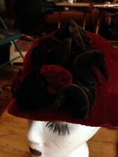 Nemesis Antique Burgandy Velvet  Cloche Hat With Art Deco Black Velvet Rosettes