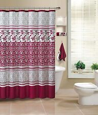 Lyon Red Taupe Beige Embossed Fabric Bathroom Shower Curtain