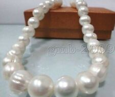 "HUGE NATURAL SOUTH SEA 17""10MM GENUINE WHITE BLUE BAROQUE PEARL NECKLACE"