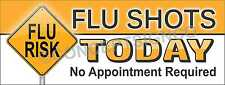 1.5'X4'  FLU SHOTS TODAY BANNER Outdoor Sign No Appointment Required Clinic Risk