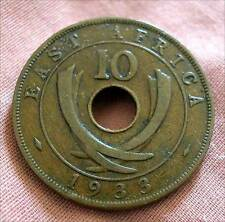 EAST AFRICA-10 CENTS BRONZE 1933 KM # 19