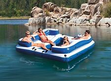 4 Person Inflatable Party Island Floating River Lake Beach Pool Water Raft Loung