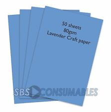 A4 80gsm CLAIREFONTAINE COLOURED CRAFT PAPER - 50 SHEETS - LAVENDER BLUE 1972