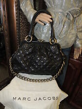MARC JACOBS Stam Satchel Black Leather Quilted Purse Brass Chain Kiss Lock