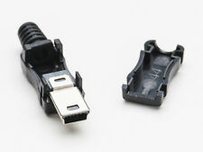 2pcs USB Type Mini B Male DIY Connector Plug Jack Cable Replacement w/ Shell