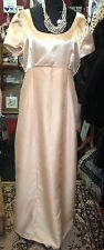 Long Gold Vintage Dress Wedding Prom Bridesmaid 1990s Size 14 16 Cap Sleeves