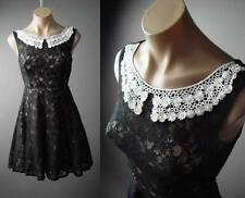 Pearl Bead Crochet Collar Black Lace Full Skirt Dance Party 123 ac Dress XS/S