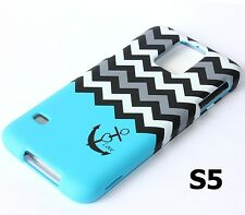 For Samsung Galaxy S5 HARD FITTED SKIN CASE COVER BLUE GREY BLACK CHEVRON ANCHOR