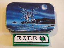 slim 1oz hinged Enchanted Blue Dragon tobacco tin with  rolling papers