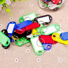 30Pcs Coloured Key Rings Fobs ID Tags Cards Name Labels Office Luggage Plastic