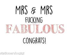 Gay Wedding, Civil Partnership, Mrs & Mrs F*%#@ing Fabulous, Marriage Card