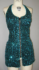 1-OF-A-KIND SEXY PEACOCK SEQUIN DRESS/DANCE/PRO-CHEER COSTUME-Size M