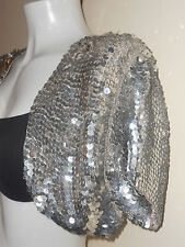 NEW STRETC SEQUIN BOLERO CROP SHRUG TOP CARDIGAN SILVER NIGHT PARTY BLAZER DISC