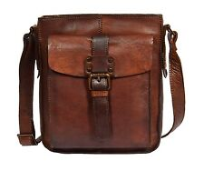 Mens Vintage Small Shoulder Bag Cross Body Travel Pouch Dark Brown NEW