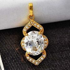 Bright Oval Cubic Zircon Heart Womens Pendant Yellow Gold Filled free shipping