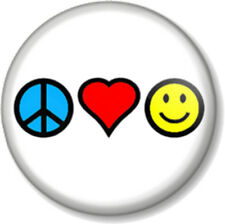 "Peace Love and Happiness 25mm 1"" Pin Button Badge Hippie Pacifist Message Cute"