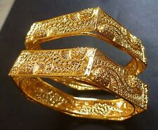 South Indian 22K Gold Plated 2 Bangles Bracelets 6 Angles Sided Net Set 2.4''