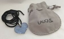 LALIQUE Angelots Blue Heart Angel Cherub Crystal Pendant Necklace with Pouch