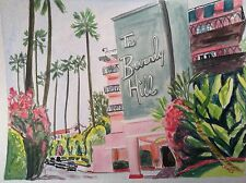 THE BEVERLY HILLS HOTEL Print of Watercolor Los Angeles California Hollywood
