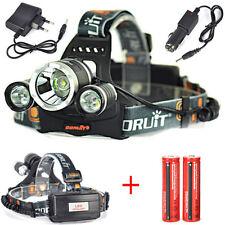 Boruit 13000Lm 3*XML T6 LED Caza Linterna Luz Frontal Faro 2X18650 AC/CAR carga