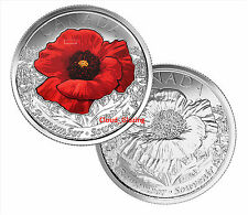 2015 COLOUR & NON COLOUR Canada Remembrance Day Poppy Quarter UNC *2 COINS