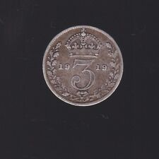 1919 Great Britain Silver Threepence Coin  S-213