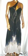 KAREN MILLEN  ltd edition prom black silk beaded long NEW MAXI DRESS SIZE 10
