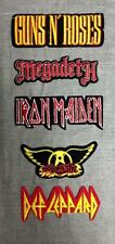 5 Embroidered Woven Patches Megadeth/Guns N' Roses/Iron Maiden/Def Leppard/Aeros