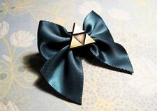 Triangles Hair Bow, green and bronze, inspired by Legend of Zelda Triforce